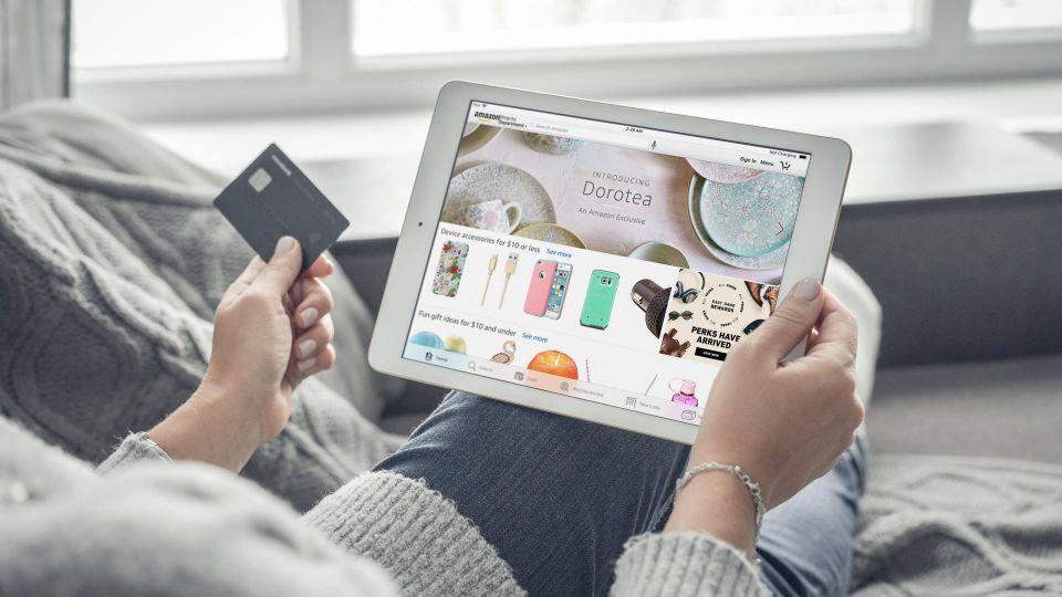 woman shopping on Amazon store