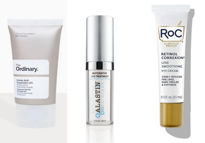 """Left to right: <a href=""""https://theordinary.deciem.com/us/rdn-azelaic-acid-suspension-10pct-30ml.html"""" target=""""_blank"""" rel=""""noopener noreferrer"""">The Ordinary Azelaic Acid Suspension 10{2f36692215c92488191f15c49f485bc8da437d4cca01014075d40c79880301cc}</a>, <a href=""""https://www.alastin.com/products/restorative-eye-treatment"""" target=""""_blank"""" rel=""""noopener noreferrer"""">Alastin Restorative Eye Treatment</a>, <a href=""""https://www.rocskincare.com/products/retinol-correxion-eye-cream-new-look"""" target=""""_blank"""" rel=""""noopener noreferrer"""">RoC Retinol Correxion Eye Cream</a>"""