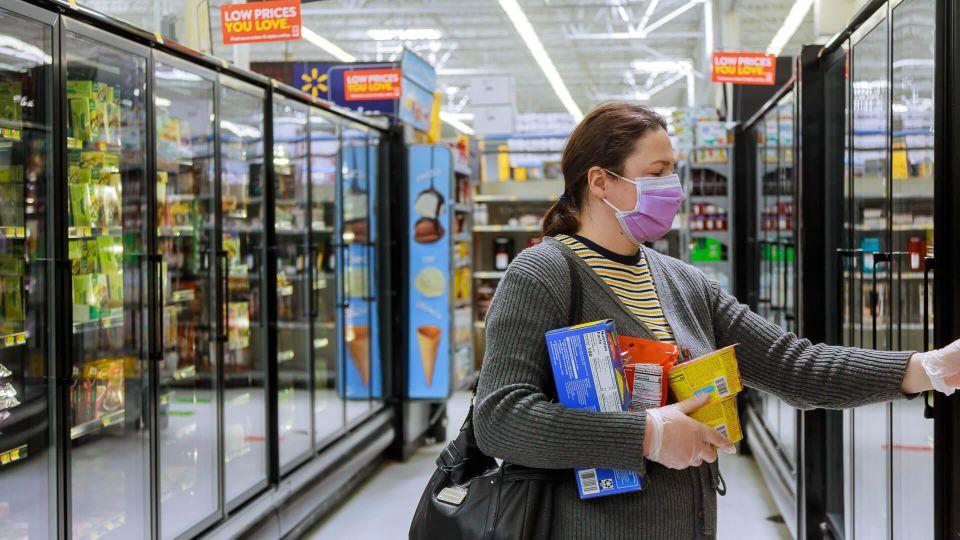 walmart customer in freezer section
