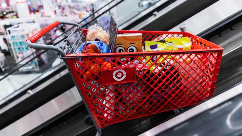 target cart going up escalator
