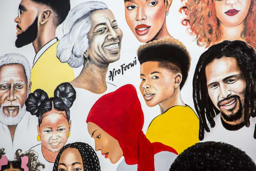 A mural at Afro Feewi celebrates natural African hair