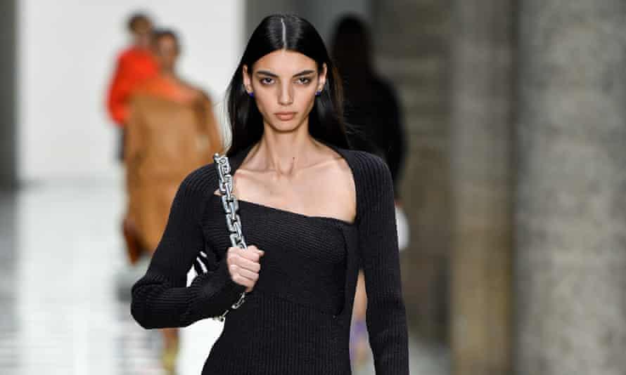A model walks the runway at the Bottega Veneta show during the Milan fashion week.