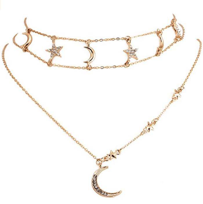 Boaccy Boho Layered Crystal Star and Moon Choker Necklace