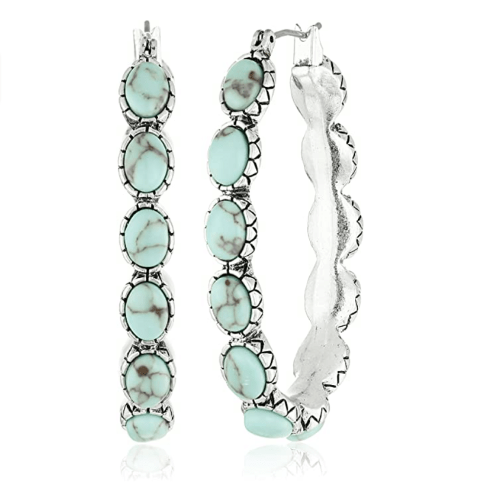 Lucky Brand Womens Oblong Turquoise Inlay Hoop Earring
