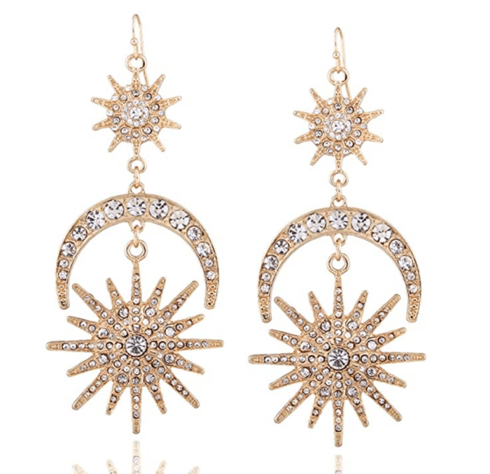 QIAN0813 Exaggerated Luxury Sun Moon Stars Drop Earrings