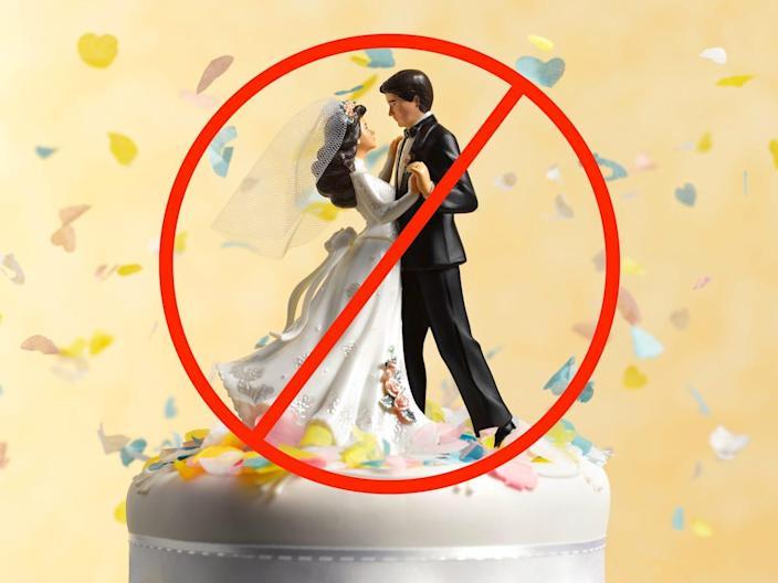 wedding cake topper slash