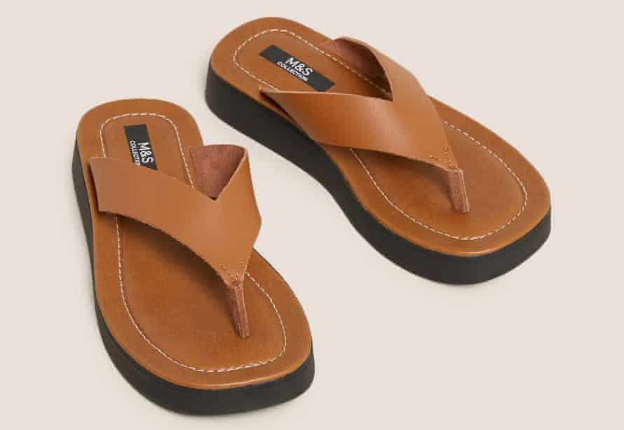 Platform leather flip-flops from Marks & Spencer.