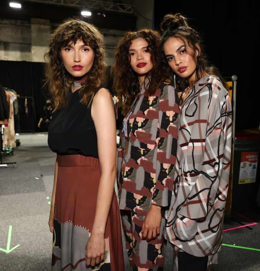 Models wearing Ngali at the Indigenous Fashion Projects show at Australian Fashion Week