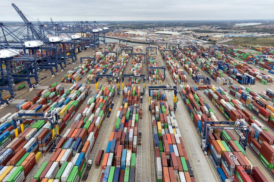 Thousands of shipping containers at the Port of Felixstowe in Suffolk, as shipping giant Maersk has said it is diverting vessels away from UK ports to unload elsewhere in Europe because of a build-up of cargo. Picture date: Wednesday October 13, 2021. (Photo by Joe Giddens/PA Images via Getty Images)