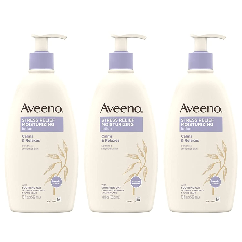 Aveeno Stress Relief Moisturizing Lotion, 3-Pack, Amazon Winter Skin-Care Sale